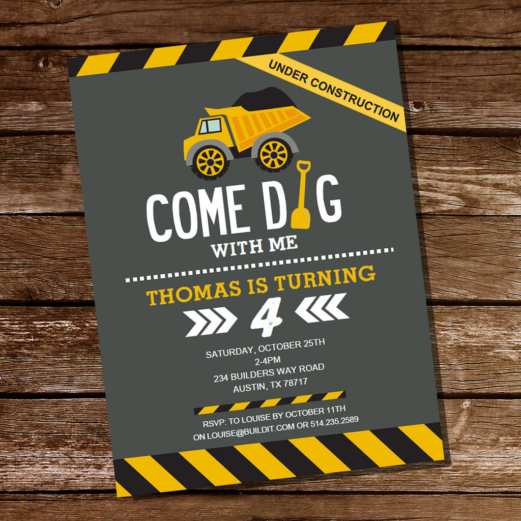 Come Dig With Me Construction Party Invitation for a Boy