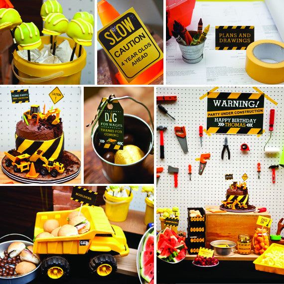 Come Dig With Me Construction Party Decorations and Invitation