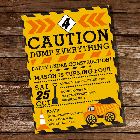 Caution Dump Everything Construction Party Invitation
