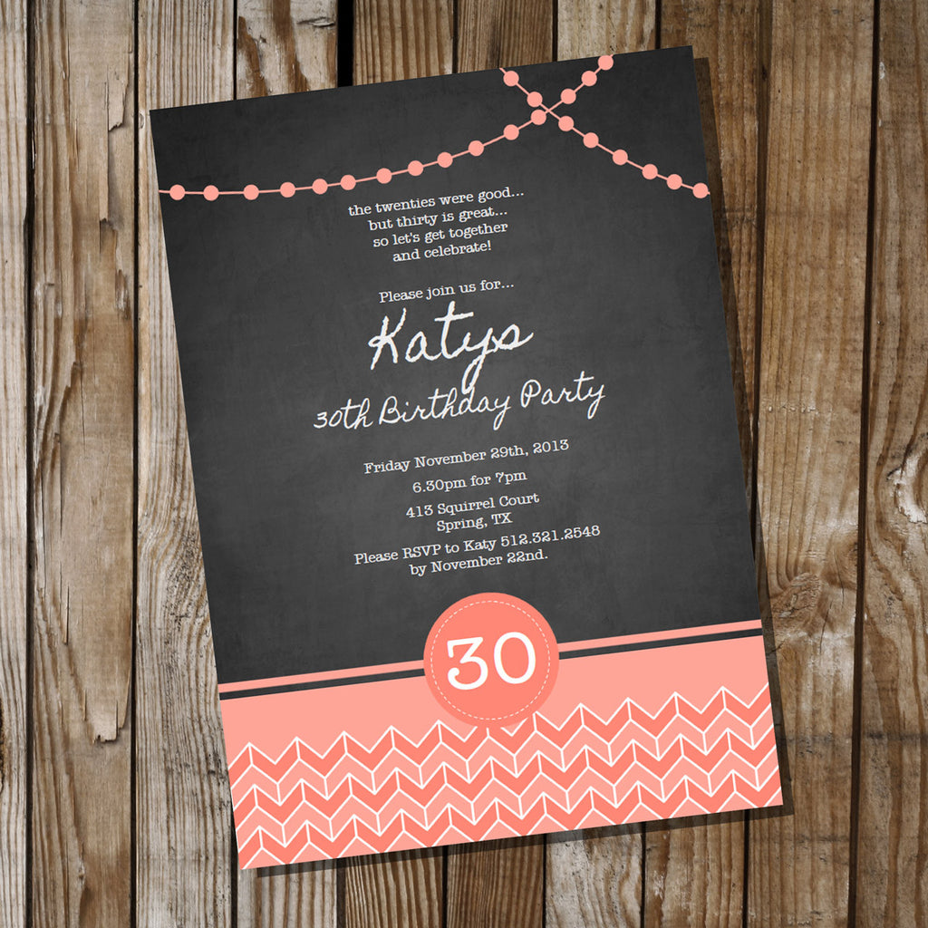 Chalkboard Birthday Invitation with Coral