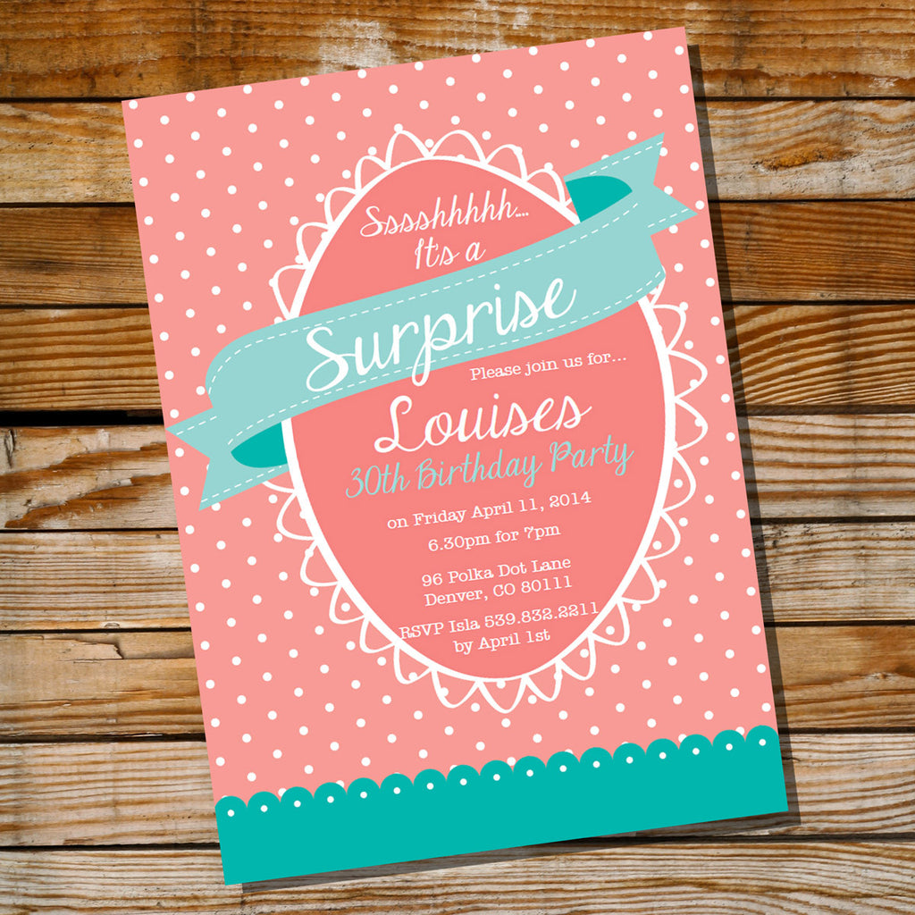 Surprise Birthday Invitation | Coral and Teal Invite Template