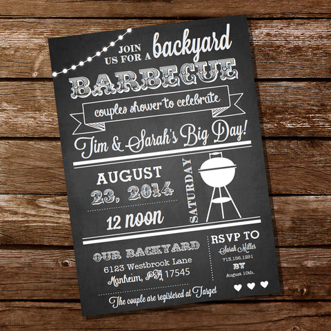 Chalkboard Couples Shower BBQ Party Invitation