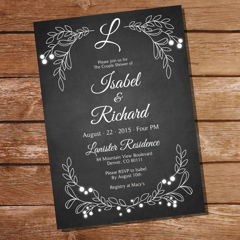 Chalkboard Couples Shower Invitation | Engagement Party Invitation
