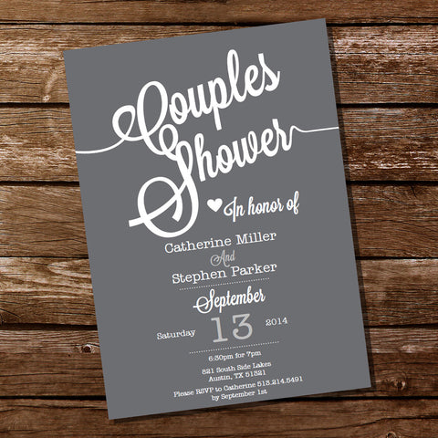 Gray Couples Shower Party Invitation