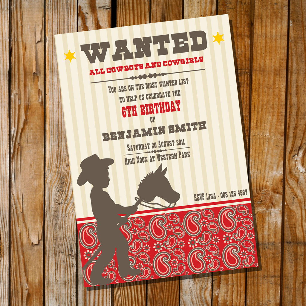 Cowboy Birthday Party Invitation - Wanted! All Cowboys! Invite