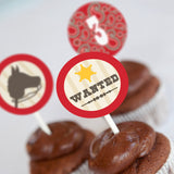 Cowboy Birthday Party Cupcake Toppers