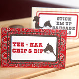 Cowboy Birthday Party Food Label Tent Cards