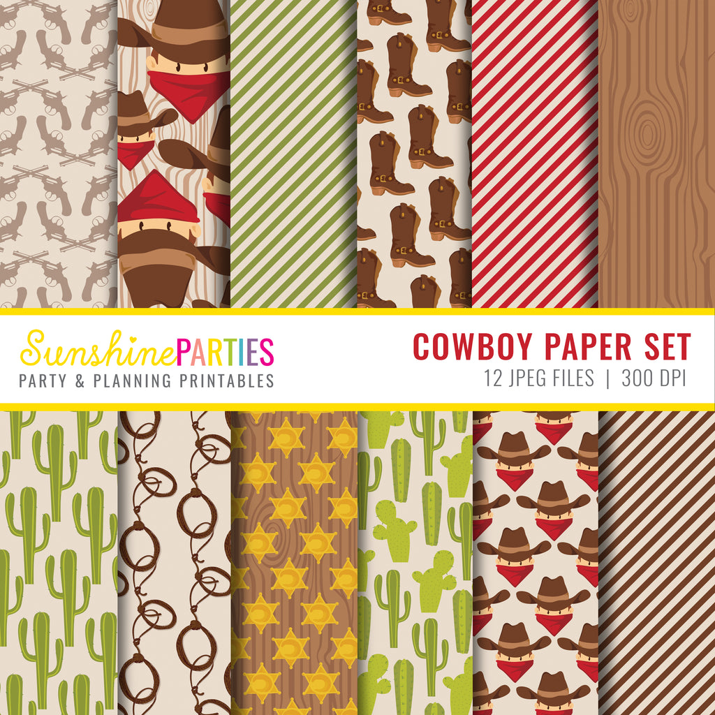 Cowboy Digital Paper Set