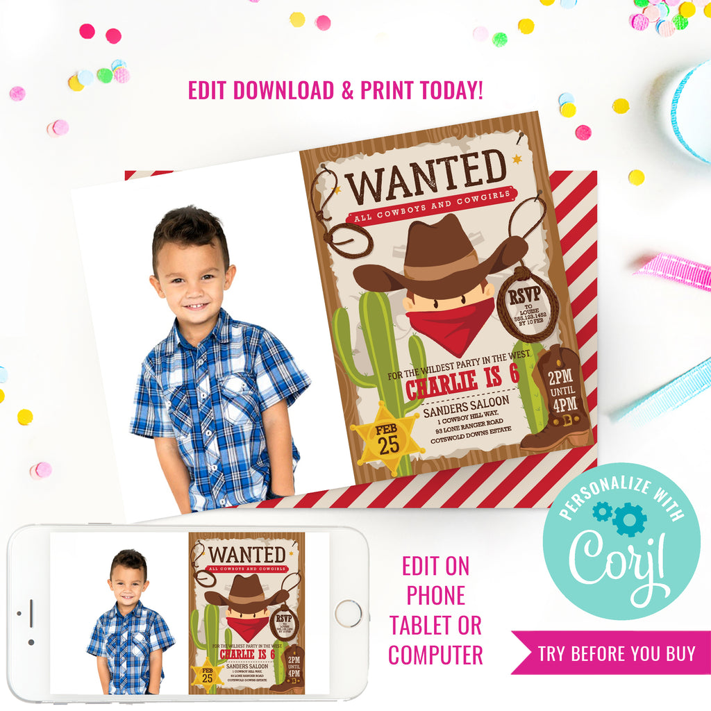 Cowboy Birthday Party Photo Invitation