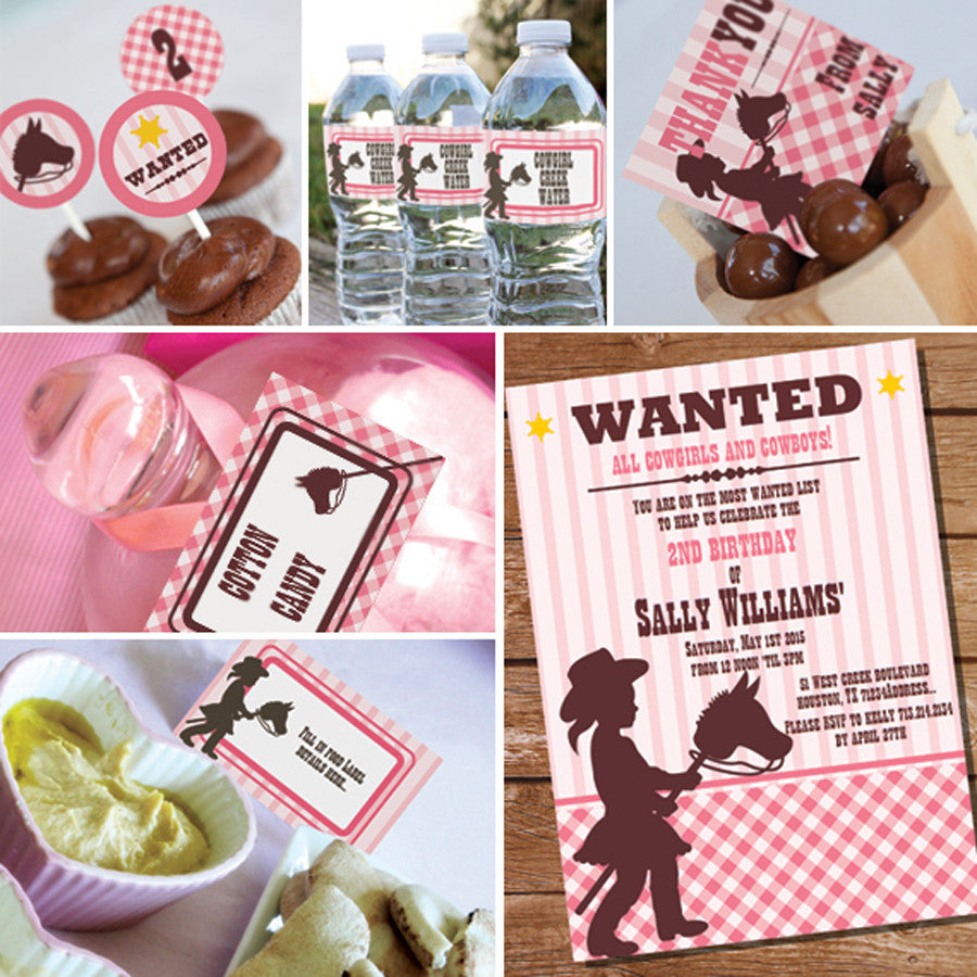 Cowgirl Birthday Party Decorations | Pink Gingham Cowgirl Party ...