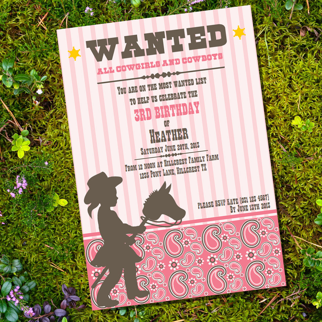Cowgirl Birthday Party Invitation | Wanted! All Cowgirls! Invite