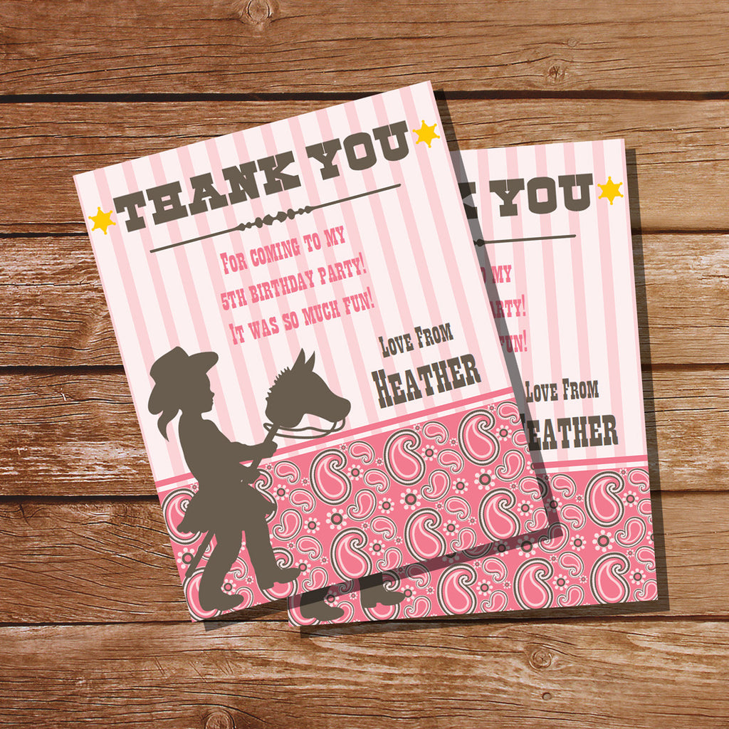 Cowgirl Birthday Party Thank You Cards