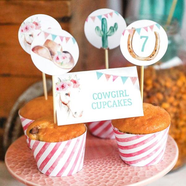 Remarkable Cowgirl Birthday Party Decor Cowgirl Watercolor Party Decor Personalised Birthday Cards Sponlily Jamesorg