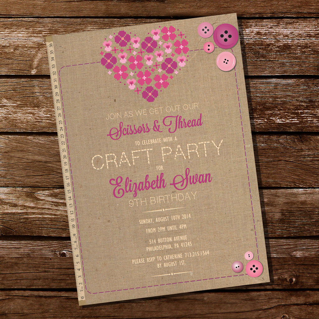 Craft Party Invitation for a Girl | Crafting Party | DIY Party ...