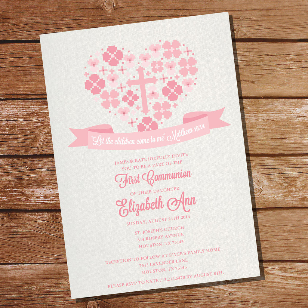 First Communion /Baptism /Christening Invitation for Girls