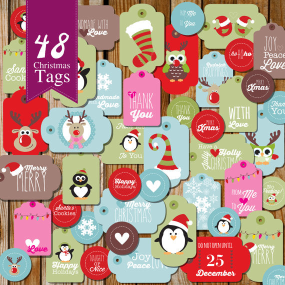 Cute Christmas Tags | Set of 48 Festive Christmas Labels and Tags