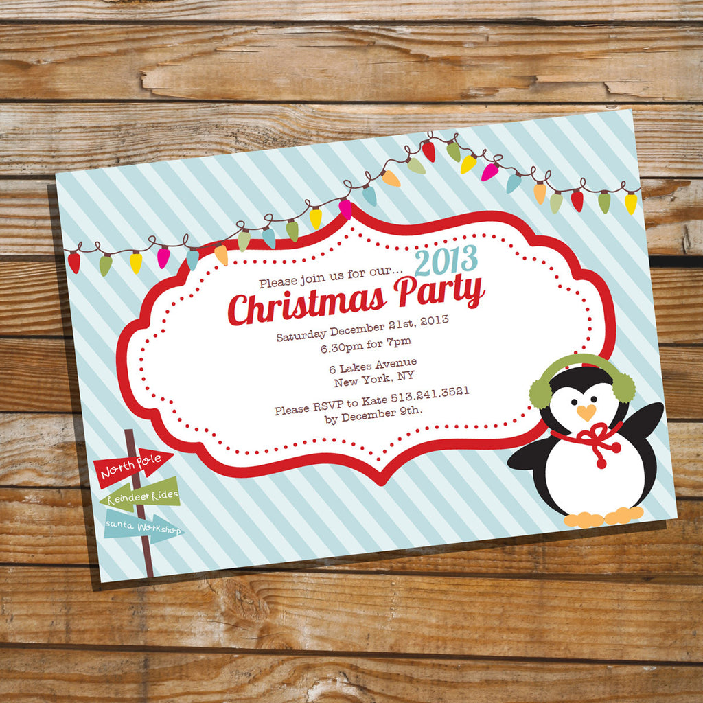 Cute Christmas Party Invitation with Penguin and Colorful Lights