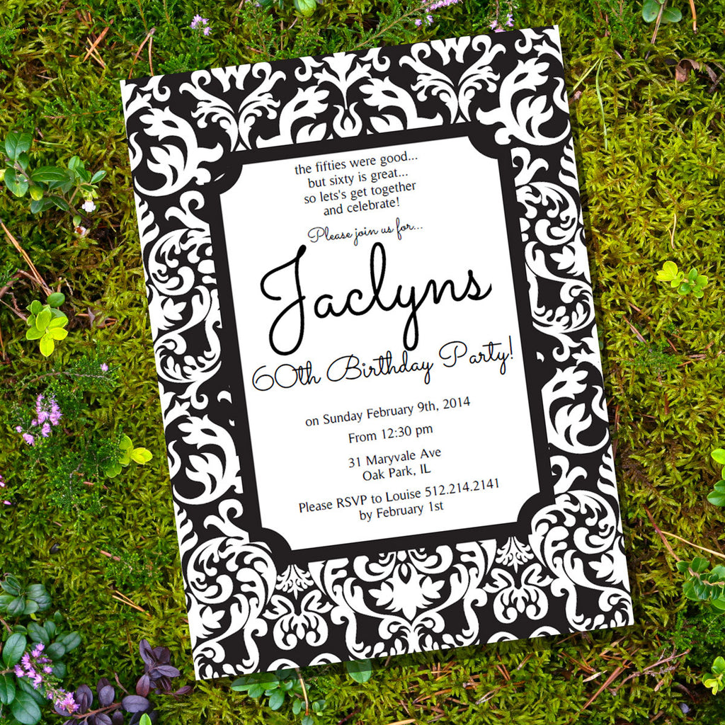 Black and White Damask Invitation