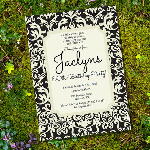 Printable Birthday Party Invitations for Adults – Damask Birthday Invitations