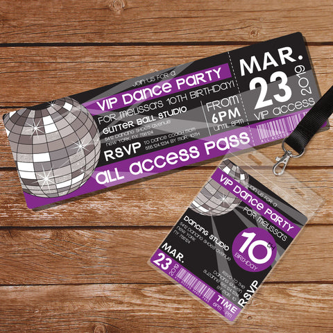 Dance Party Invitation Purple Ticket