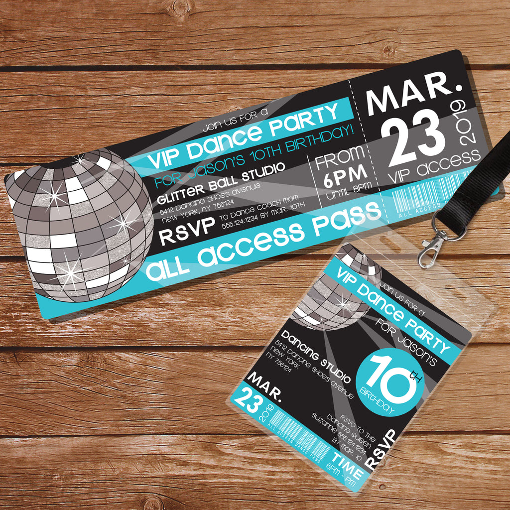 Dance Party Invitation Blue | Tag and Ticket Mirror Ball Dance Party