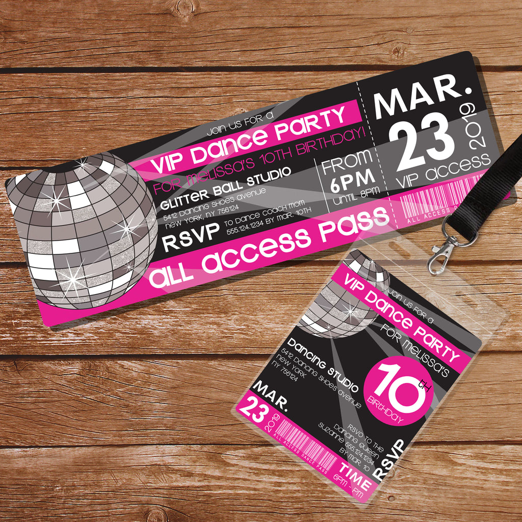 Pink Dance Party Ticket invitation