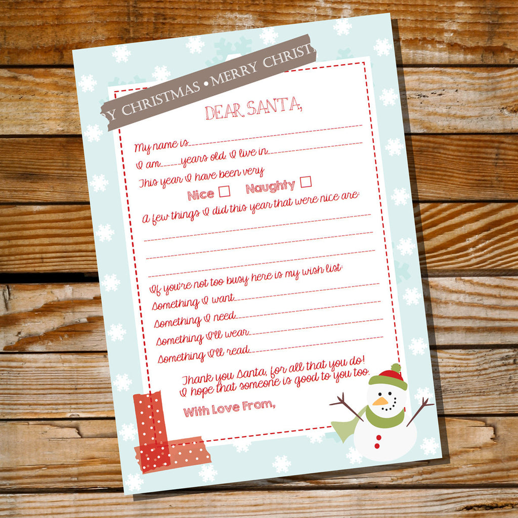 Cute Dear Santa Letter | Printable Christmas Letter to Santa Claus