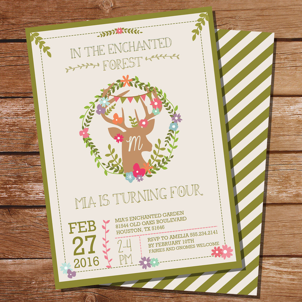 Enchanted Woodland Party Invitation | Deer Antler Invite