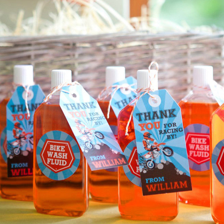 Dirt Bike Party Favors | Motocross Favor Tags