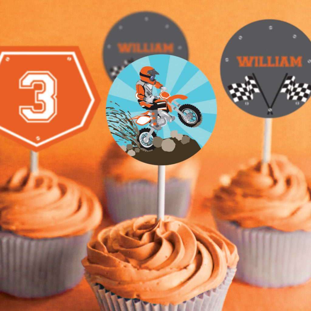 Dirt Bike Party Cupcake Toppers | Motocross Toppers