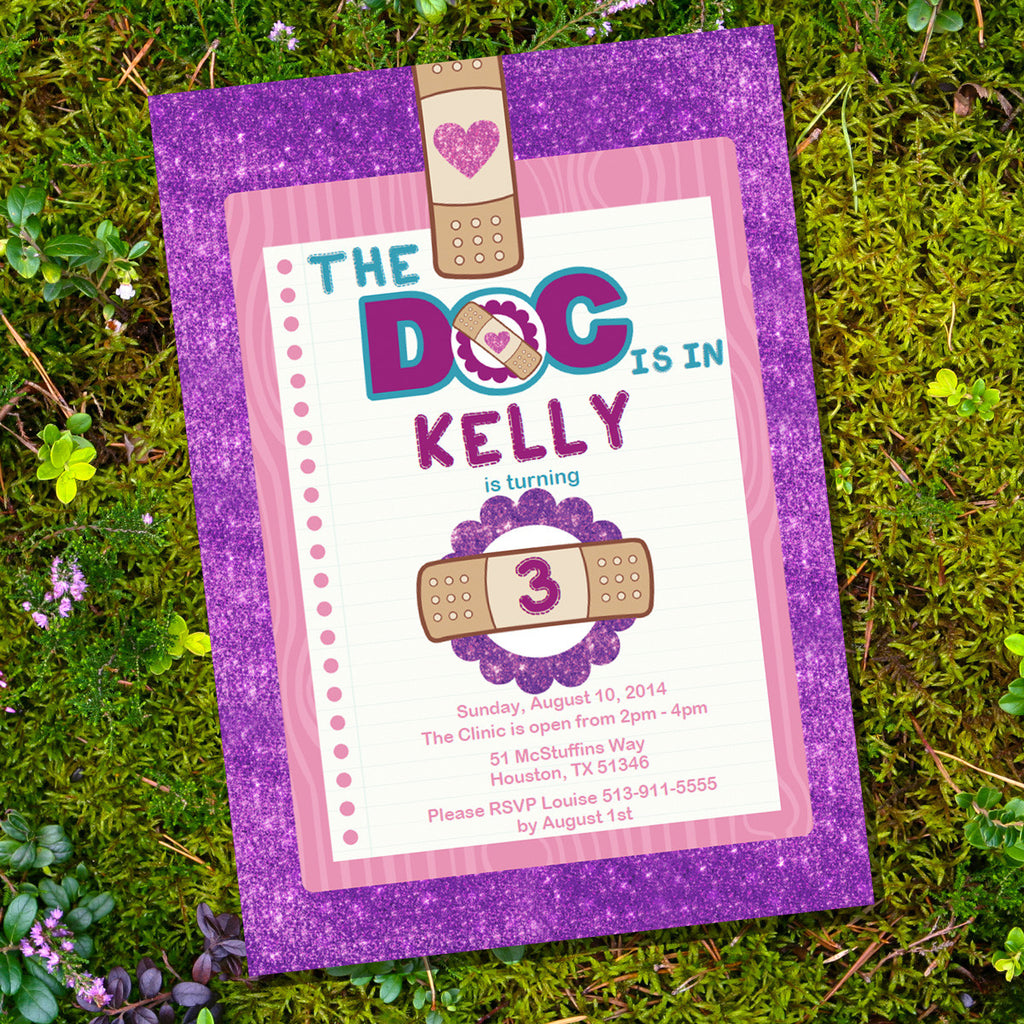 Doc McStuffins Party Invitations for a Girl | Doctor Party Invite