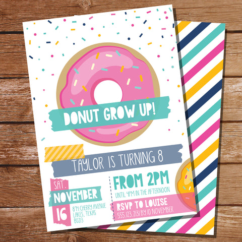 Donut Party Invitation | Donut Grow up