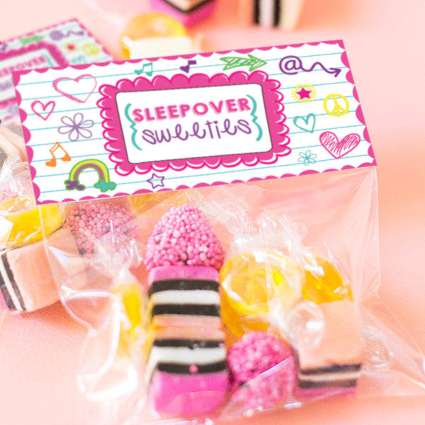 Sleepover Doodle Treat Bag Toppers | Slumber Party Favors