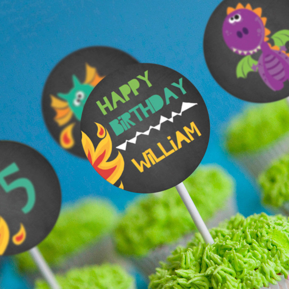 Dragon Party Cupcake Toppers