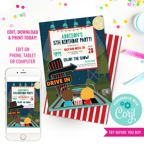 Drive-In Movie Party Invitation