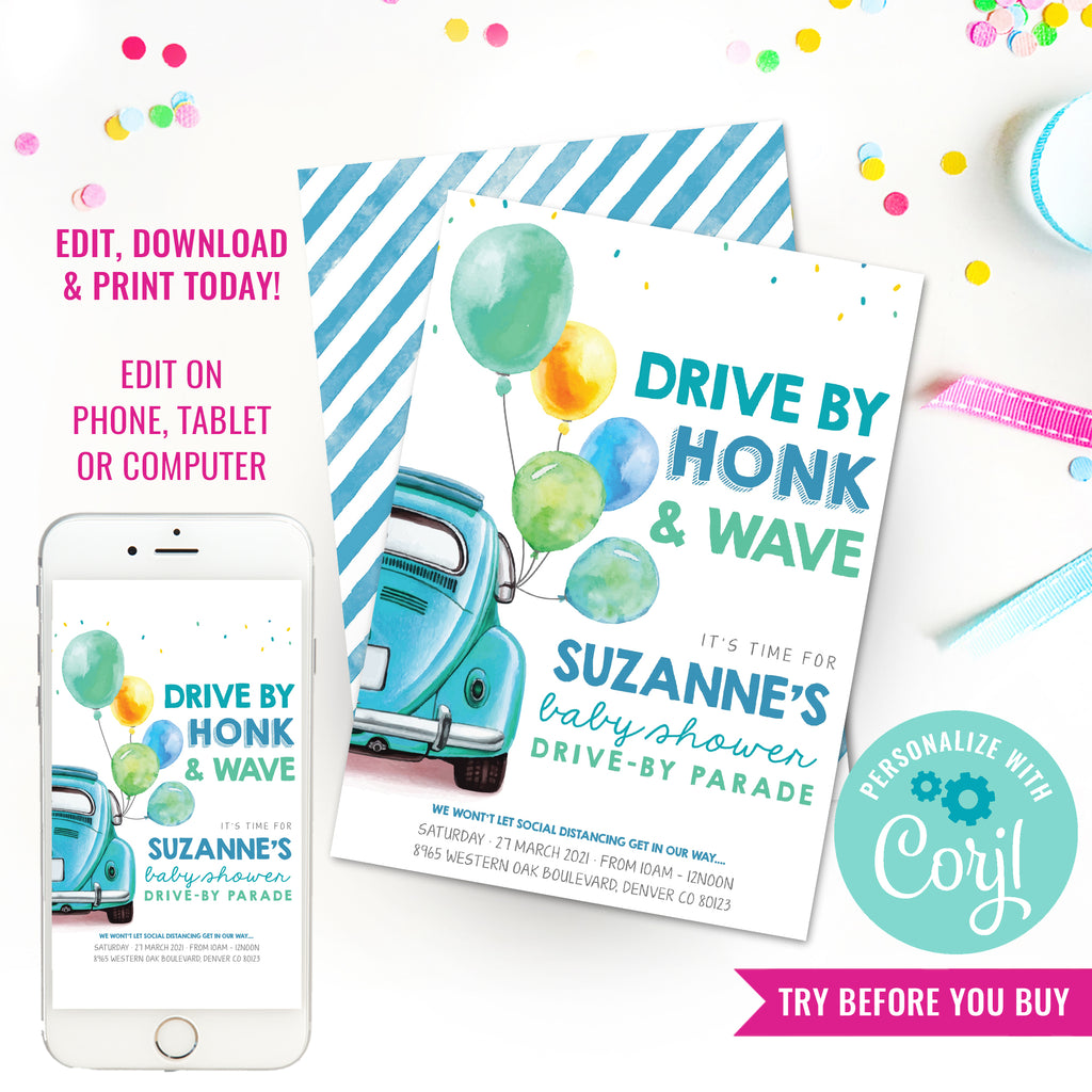 Drive By Baby Shower Invitation