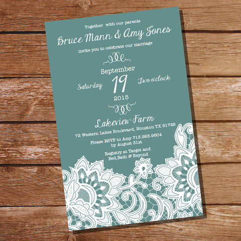 Duck Egg Blue Lace Wedding Invitation