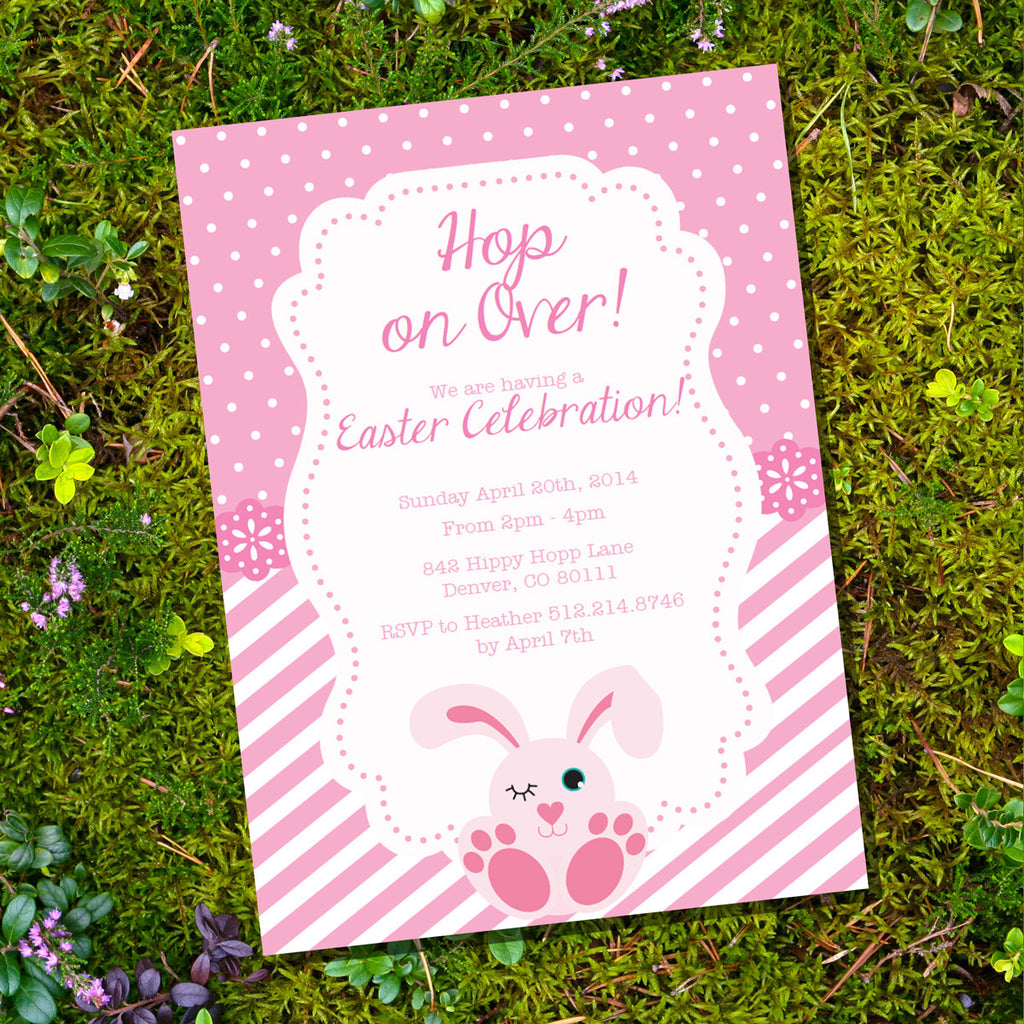 Pink Easter Bunny Party Invitation | Easter Celebration