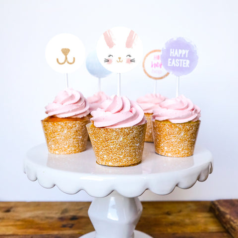 Easter Egg Hunt Cupcake Wrappers and Toppers | Easter Celebration Decorations