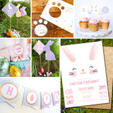 Easter Egg Hunt Full Printable Set | Invitation, Signs, Banner, Wrappers, Toppers, Labels, Footprint Stencil
