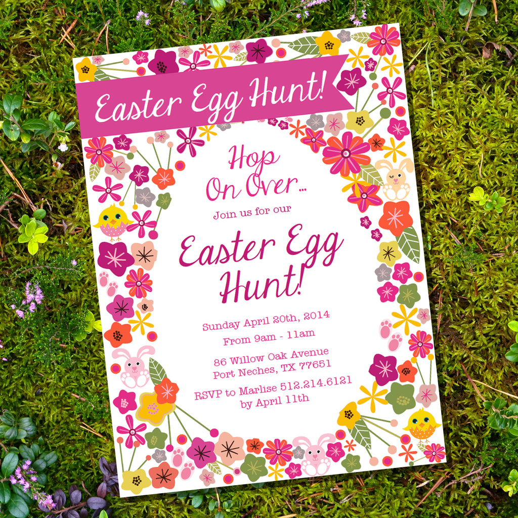 Easter Egg Hunt Floral Invitation