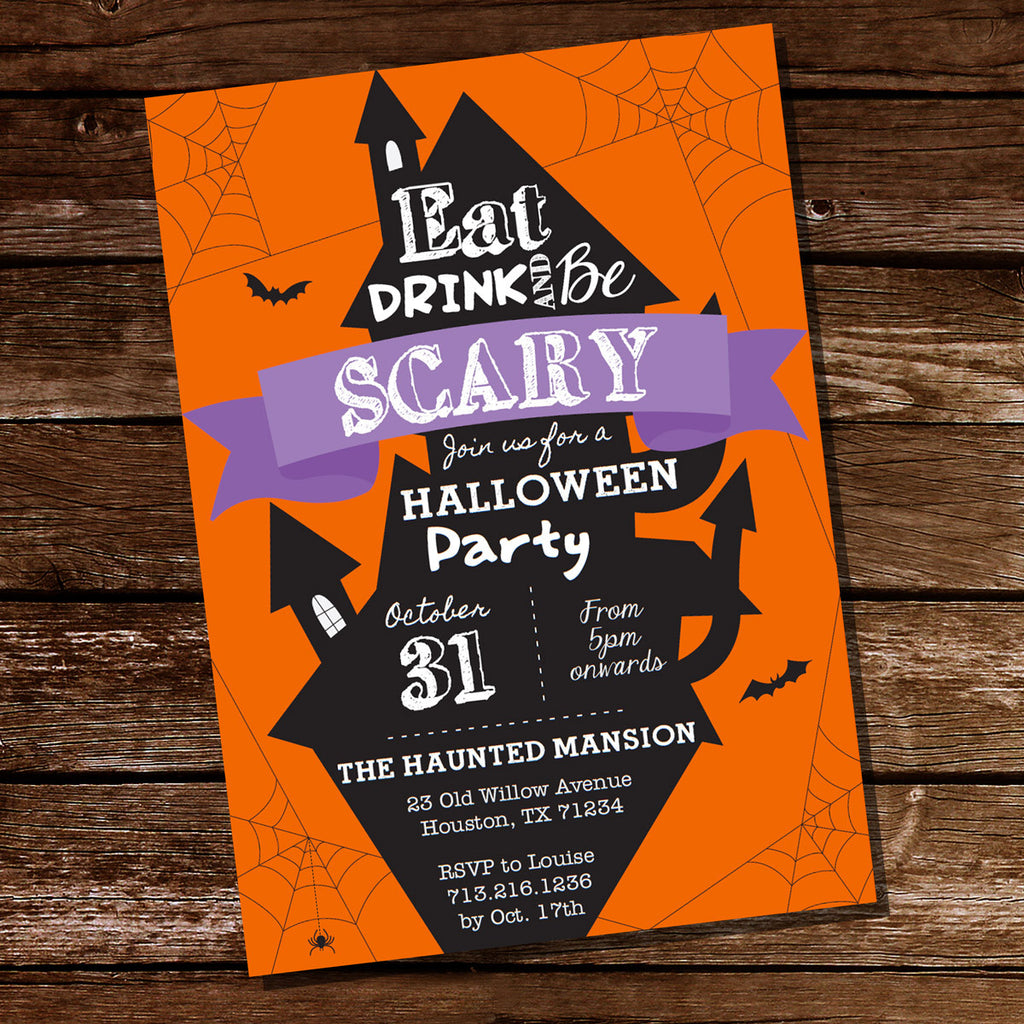 halloween costume party invitation haunted house party trick or