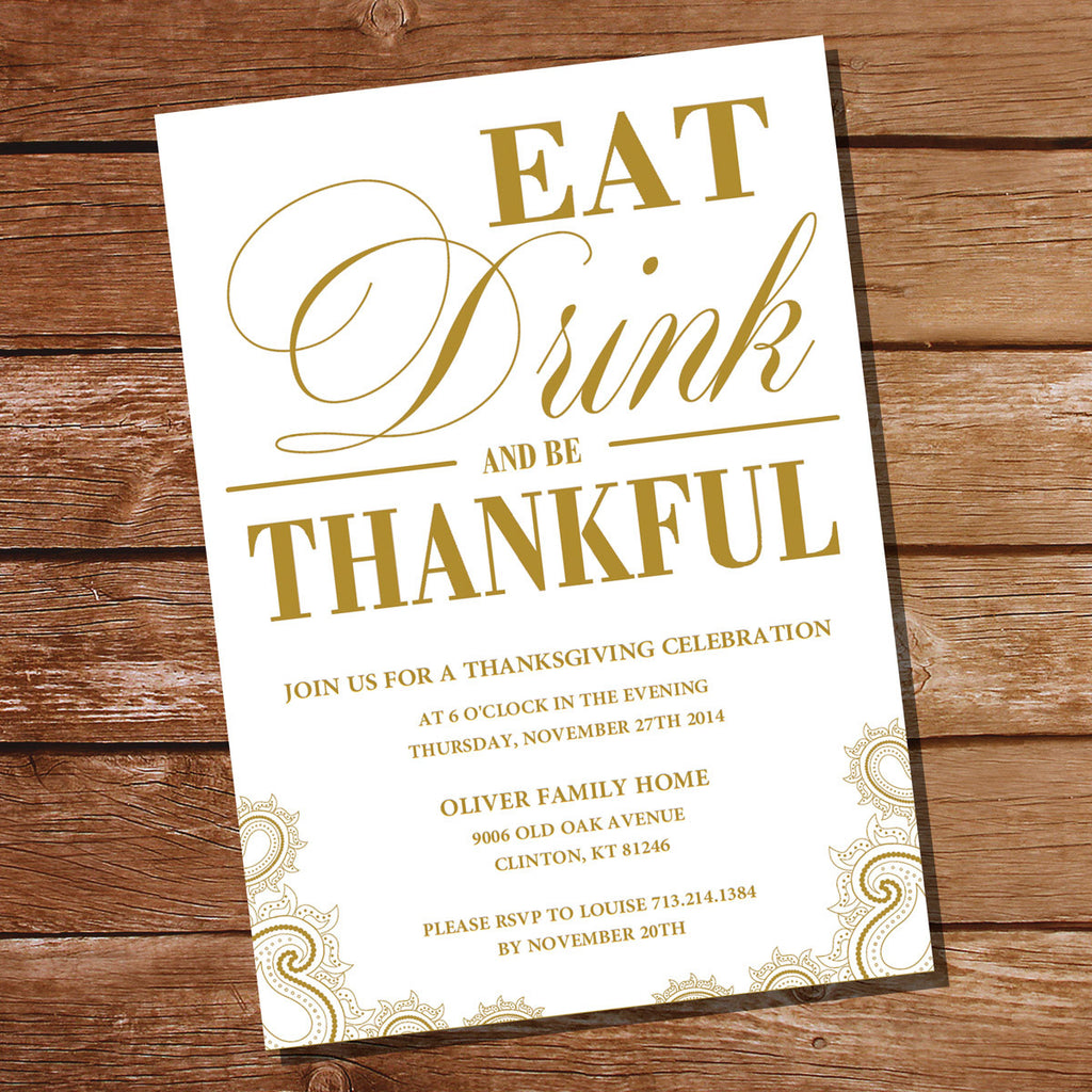 Traditional Thanksgiving Invitation | Gold and White | Eat, Drink and Be Thankful
