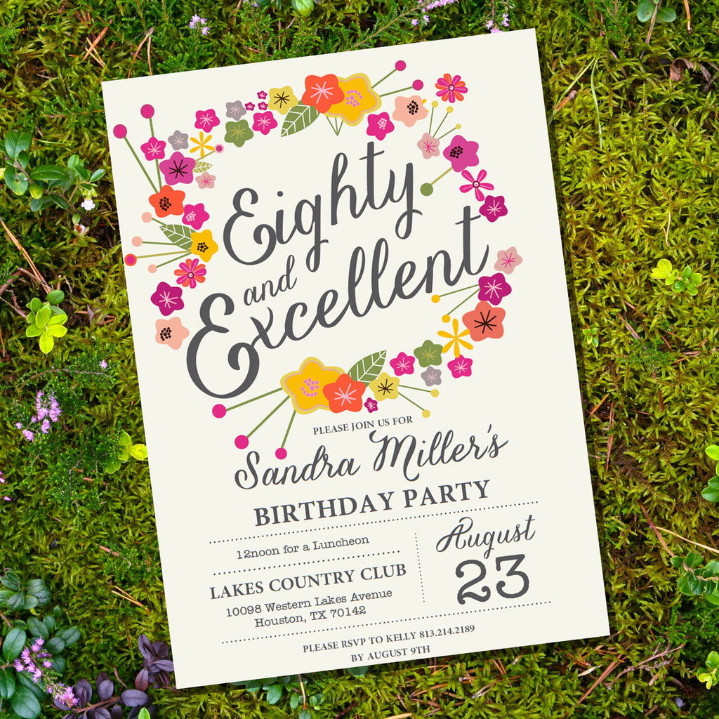 Floral Eightieth Birthday Invitation 80th Birthday Invitation
