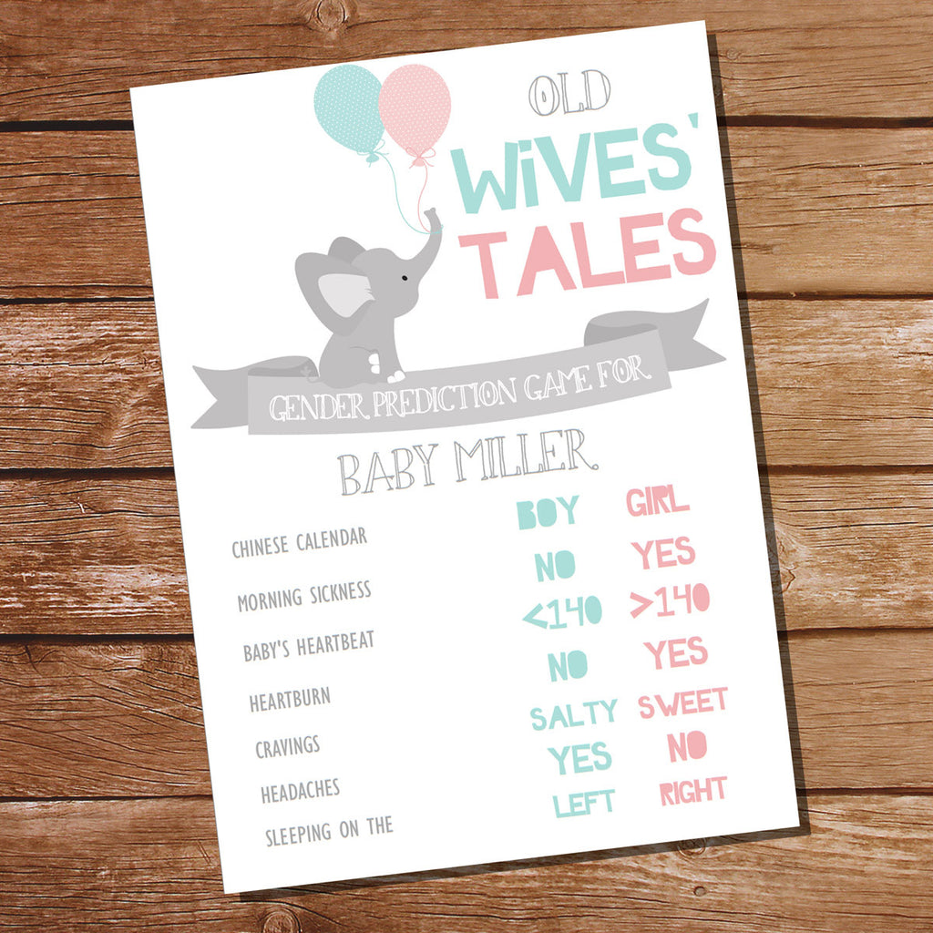 He Or She Elephant Gender Reveal Party Prediction Game