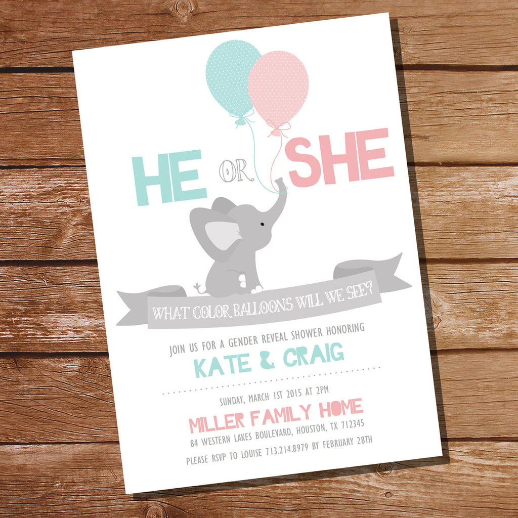 He Or She Elephant Gender Reveal Party Invitation Sunshine Parties – Elephant Party Invitations