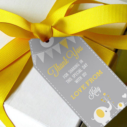 Gray and Yellow Elephant Favor Tags/ Party Favors