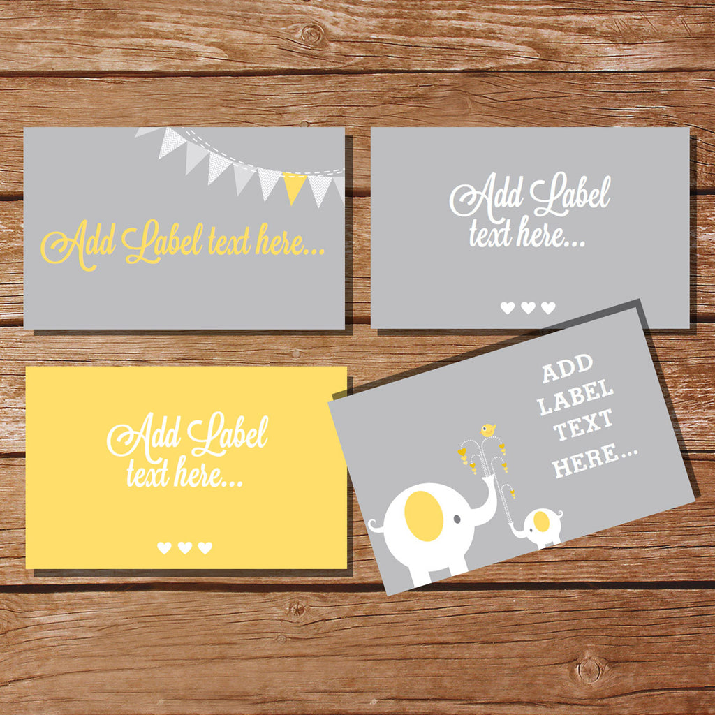 Gray and Yellow Elephant Party Tent Cards/ Food Labels/ Buffet Cards/ Food Tags/ Labels