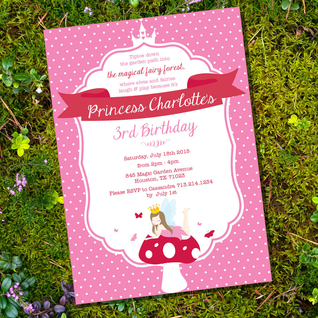 Fairy Princess Birthday Party Invitation | Woodland Fairy Invite