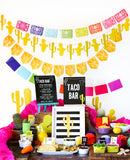 Fiesta Taco Bar Party Set Up and Decorations